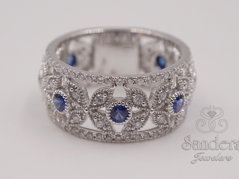 Rings - Wide Sapphire and Diamond Fashion Band