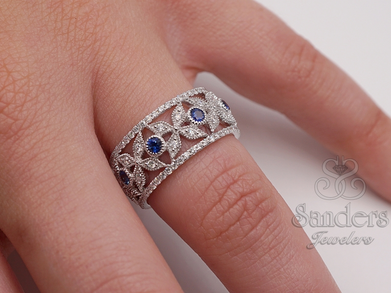 Rings - Wide Sapphire and Diamond Fashion Band - image #2