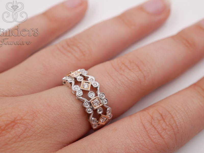 Rings - Wide Two-Tone Filigree RIng - image #2