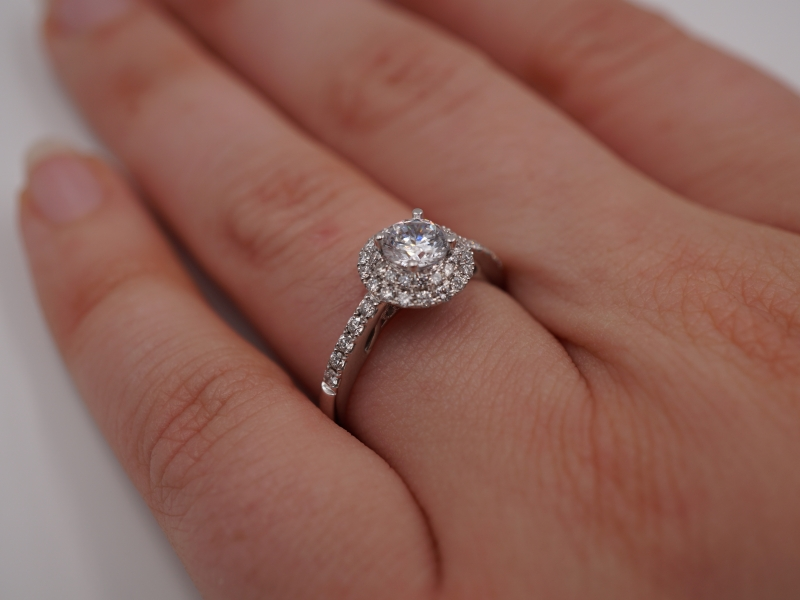Bridal Jewelry - Double Halo Diamond Engagement Ring - image #4