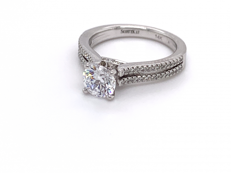 Bridal Jewelry - Diamond Accented Double Shank Engagement Ring