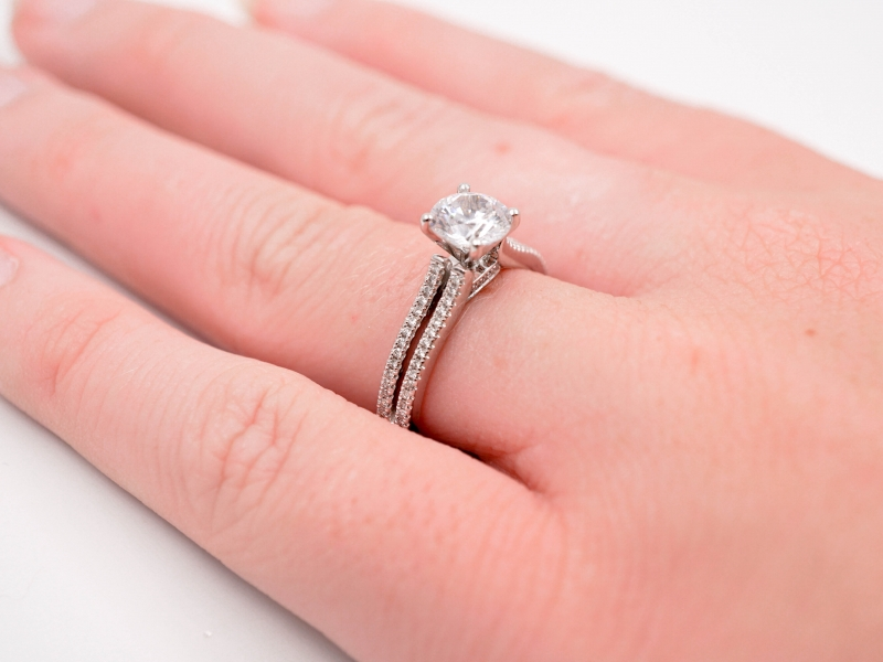 Bridal Jewelry - Diamond Accented Double Shank Engagement Ring  - image #3