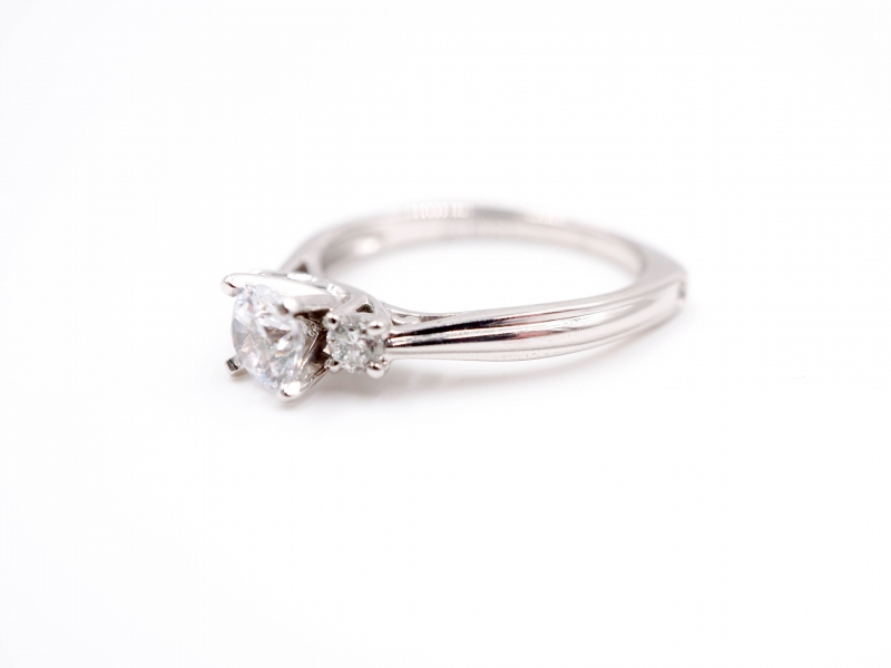 Bridal Jewelry - Three Stone Engagement Ring  - image #2