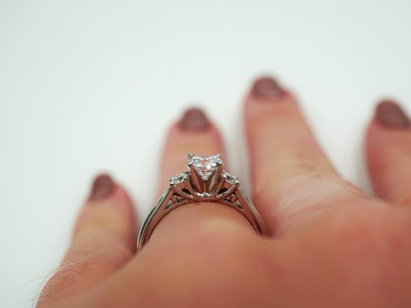 Bridal Jewelry - Three Stone Engagement Ring  - image #5