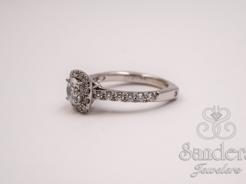 Bridal Jewelry - Cushion Halo Engagement Ring - image #2