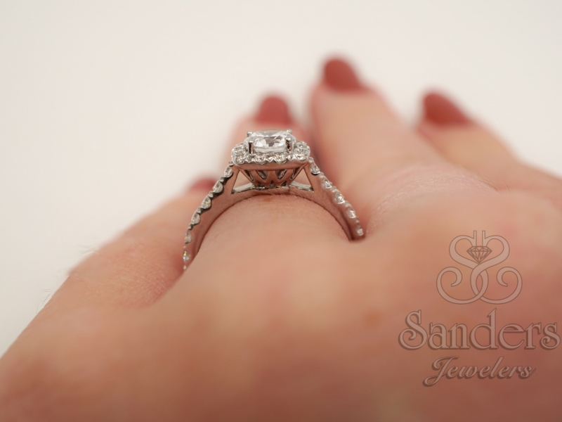 Bridal Jewelry - Cushion Halo Engagement Ring - image #5