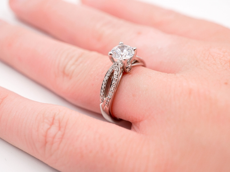 Bridal Jewelry - Ribbon Shank Engagement Ring  - image #3