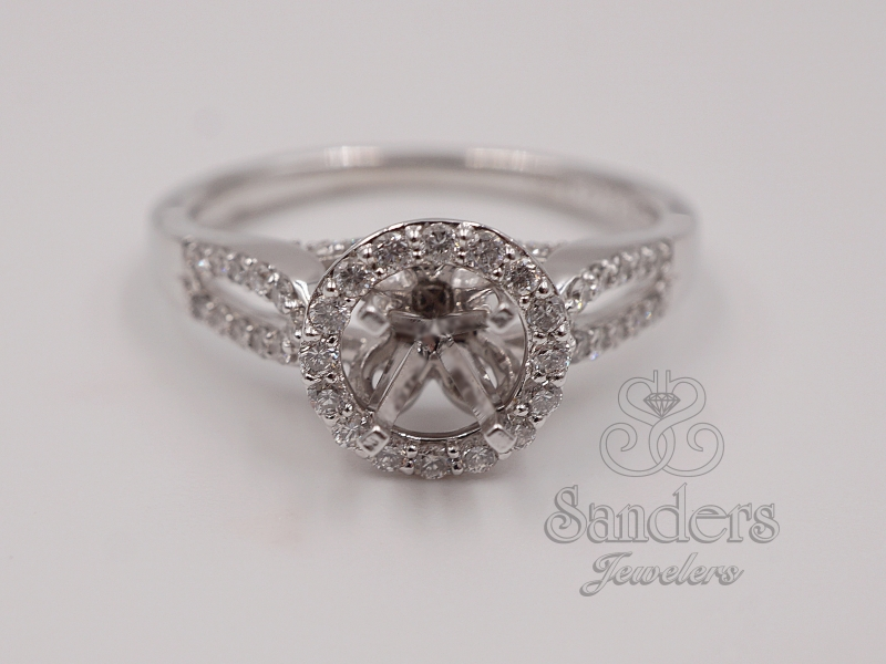 Bridal Jewelry - Split Shank Diamond Halo Engagement Ring