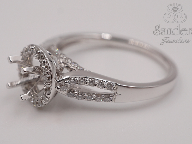 Bridal Jewelry - Split Shank Diamond Halo Engagement Ring  - image #2