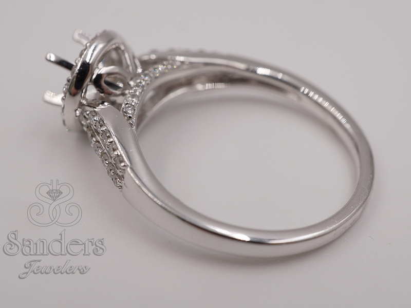 Bridal Jewelry - Split Shank Diamond Halo Engagement Ring  - image #3