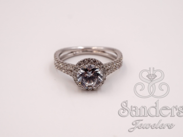 Bridal Jewelry - Double Split Shank Halo Engagement Ring