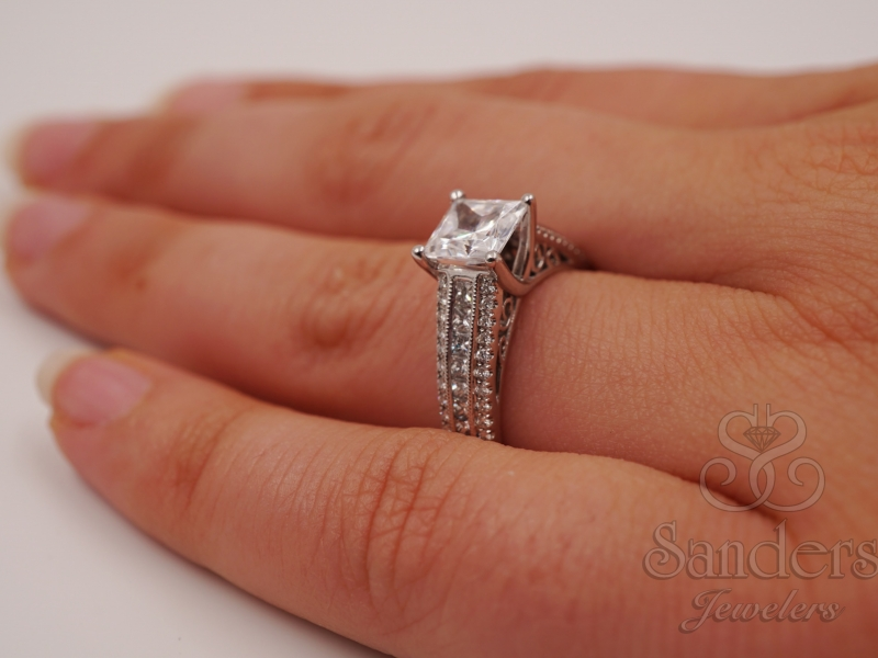 Bridal Jewelry - Modern Princess Cut Diamond Engagement Ring  - image #4