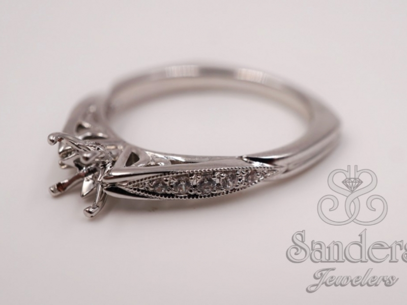 Bridal Jewelry - Vintage Inspired Engagement Ring - image #5