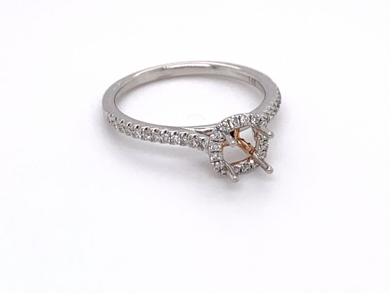 Bridal Jewelry - Two-Tone Cushion Halo Engagement Ring - image #2