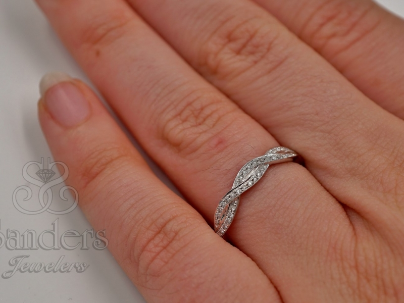 Bridal Jewelry - Twisting Diamond Wedding Band - image #3