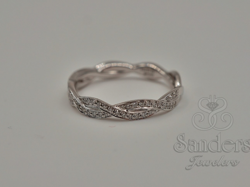 Bridal Jewelry - Twisting Diamond Wedding Band - image #2