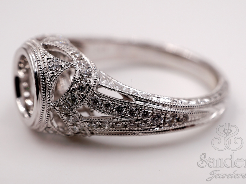Bridal Jewelry - Bezel Set Engagement Ring  - image #2