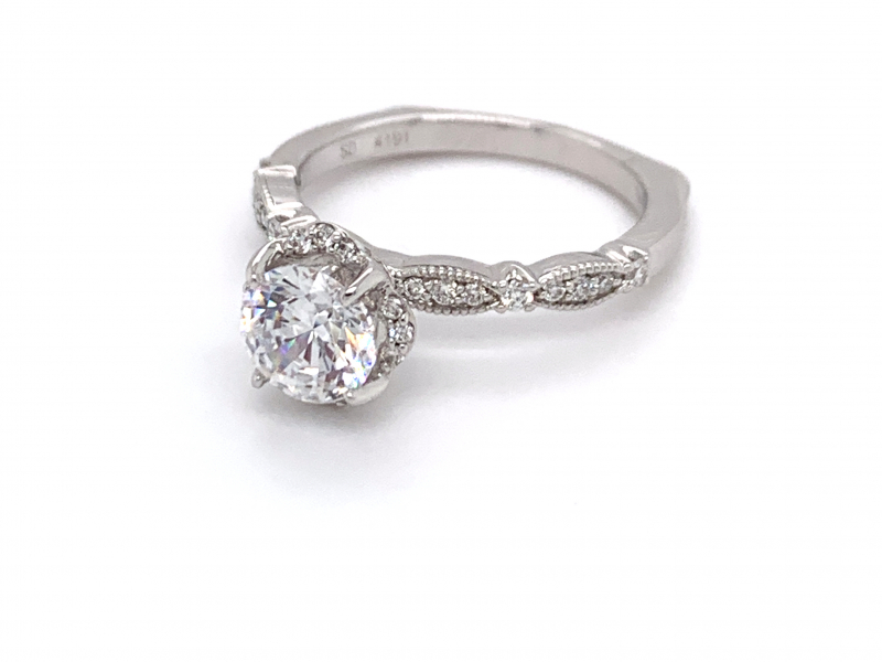Bridal Jewelry - Floral Halo Engagement Ring