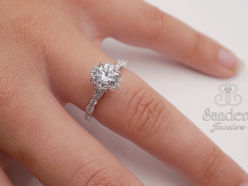 Bridal Jewelry - Floral Halo Engagement Ring - image #3