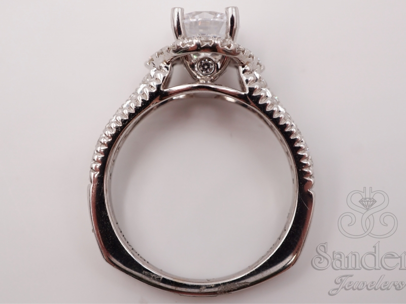 Bridal Jewelry - Diamond Halo Engagement Ring  - image #3