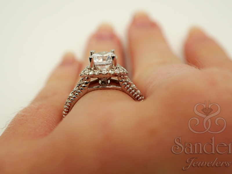 Bridal Jewelry - Diamond Halo Engagement Ring  - image #5