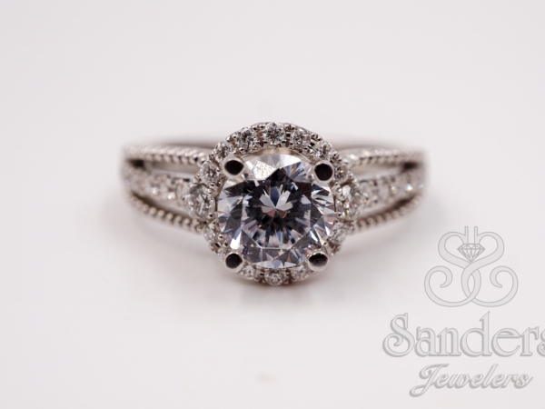 Bridal Jewelry - Diamond Halo Engagement Ring