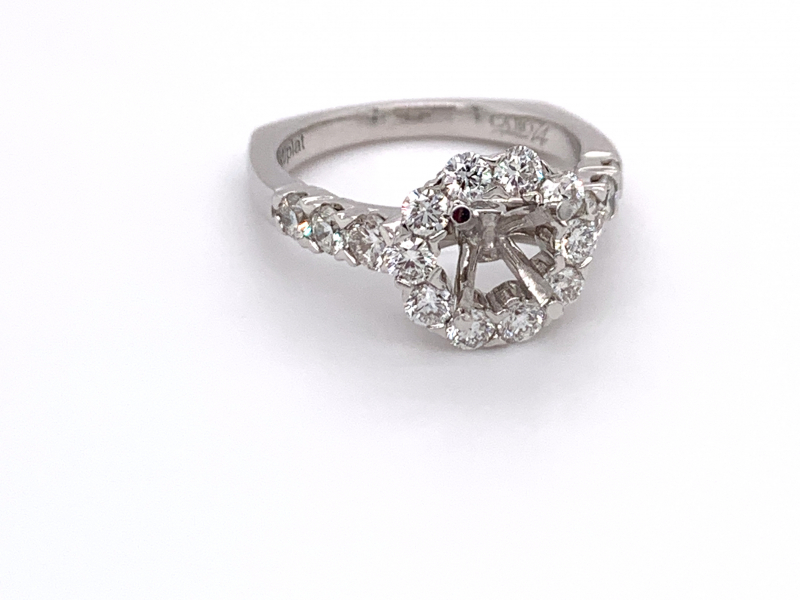 Bridal Jewelry - Scalloped Halo Engagement Ring  - image #2