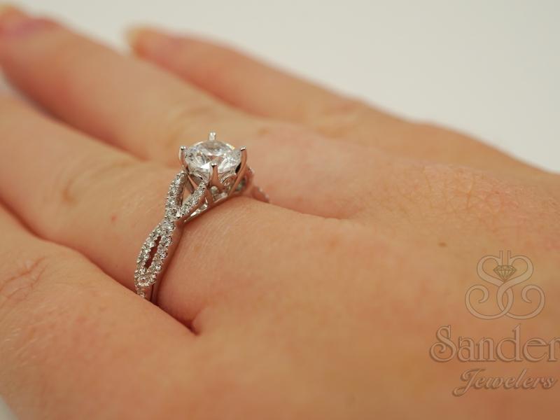 Bridal Jewelry - Twisting Diamond Engagement Ring - image #4