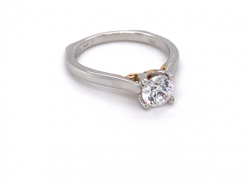 Bridal Jewelry - Two-Tone Solitaire Engagement Ring - image #2