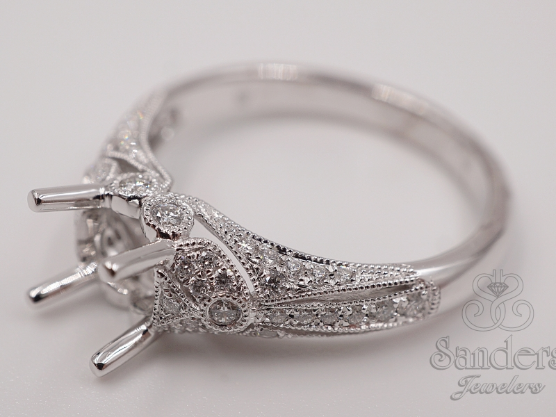 Bridal Jewelry - Vintage Style Engagement Ring - image #2