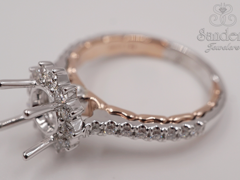 Bridal Jewelry - Two-Tone Diamond Engagement Ring - image #2