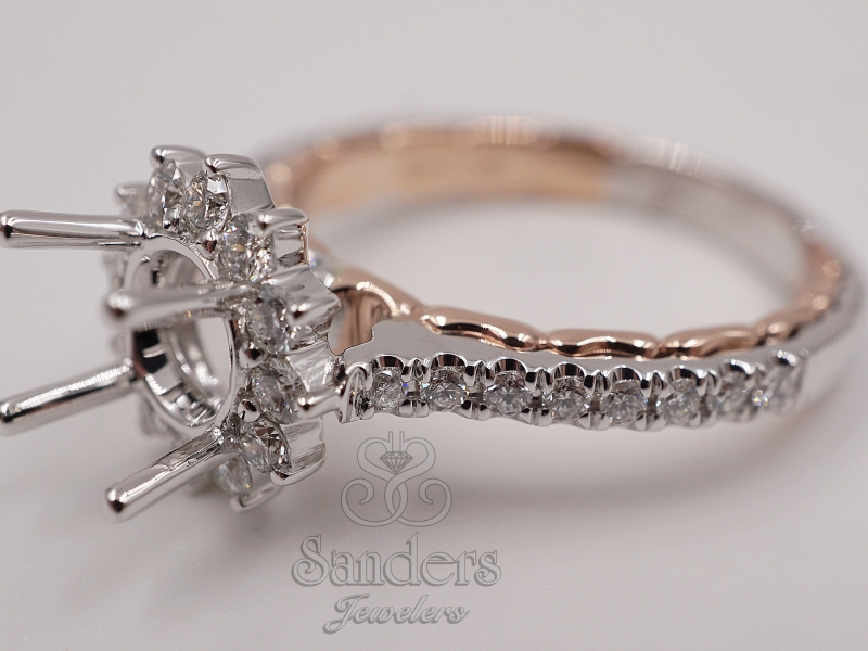 Bridal Jewelry - Two-Tone Diamond Engagement Ring - image #3