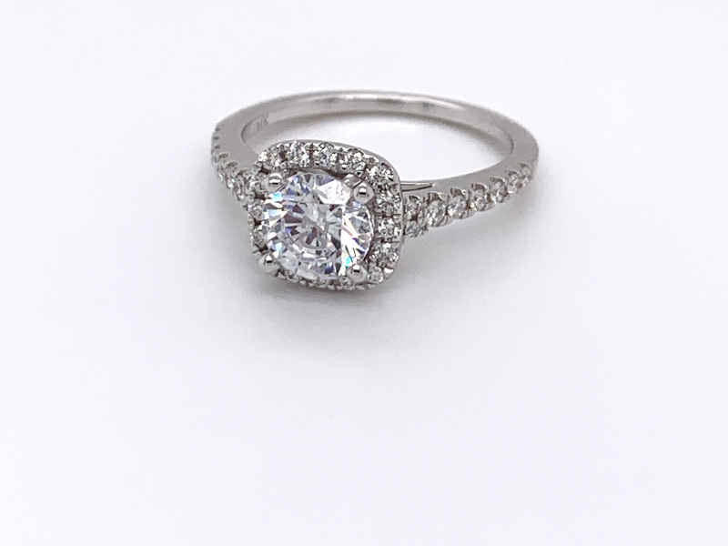 Bridal Jewelry - Cushion Halo Engagement Ring