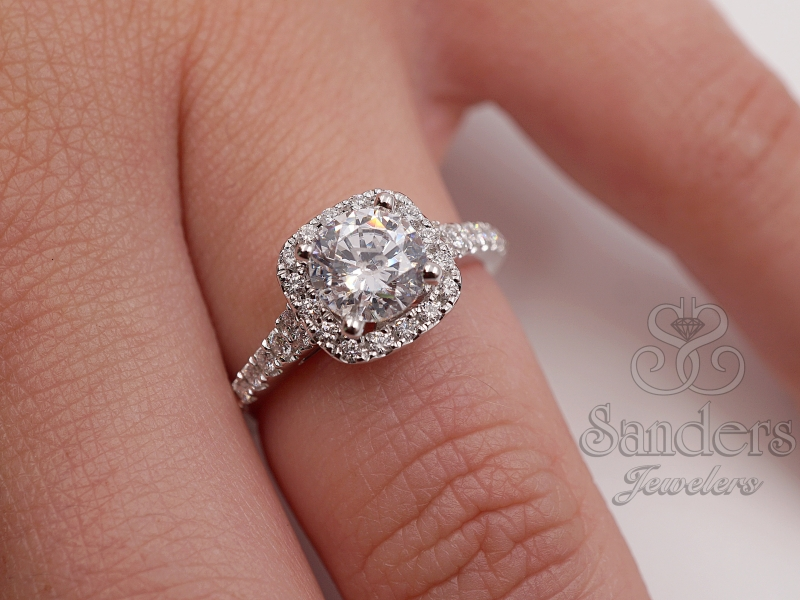 Bridal Jewelry - Cushion Halo Engagement Ring - image 3