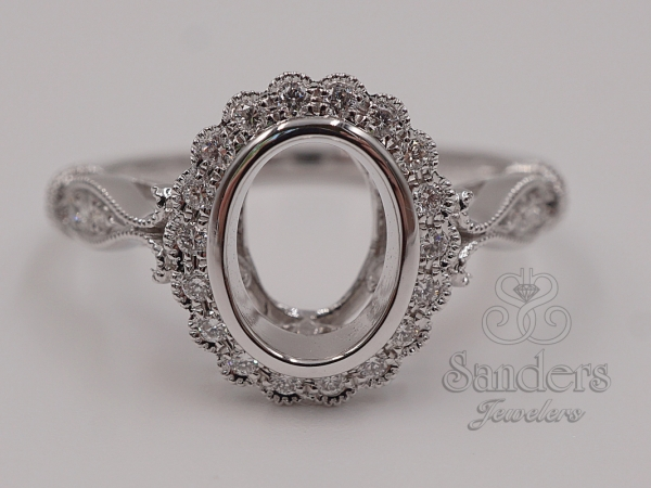 Bridal Jewelry - Oval Halo Diamond Engagement Ring