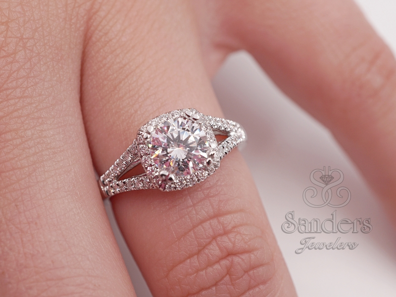 Bridal Jewelry - Cushion Halo Split Shank Engagement Ring - image #3