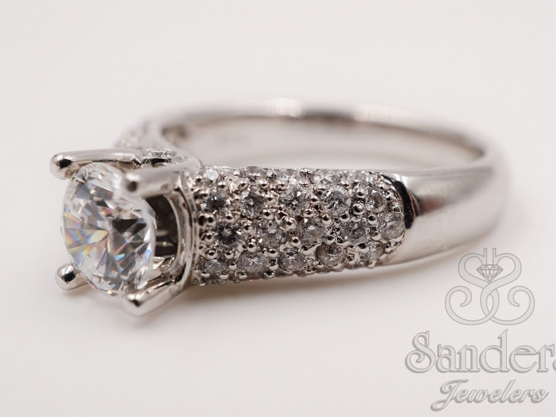 Bridal Jewelry - 14K White Gold Pave Semi Mount - image #2