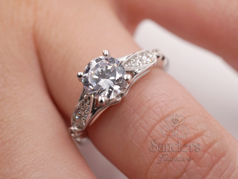 Bridal Jewelry - Vintage Inspired Engagement Ring - image #4