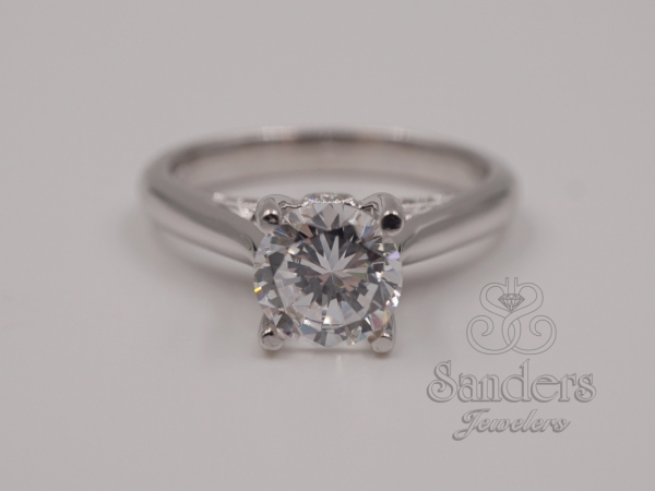 Bridal Jewelry - Diamond Accented Solitaire Engagement Ring