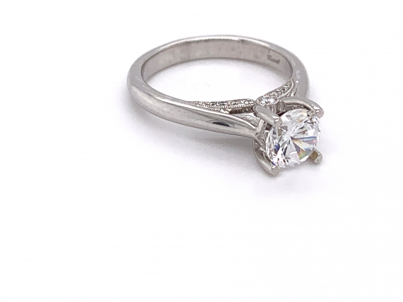 Bridal Jewelry - Diamond Accented Solitaire Engagement Ring - image #2