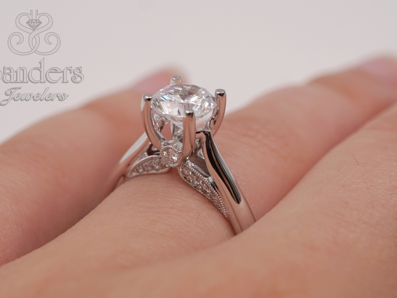 Bridal Jewelry - Diamond Accented Solitaire Engagement Ring - image 3