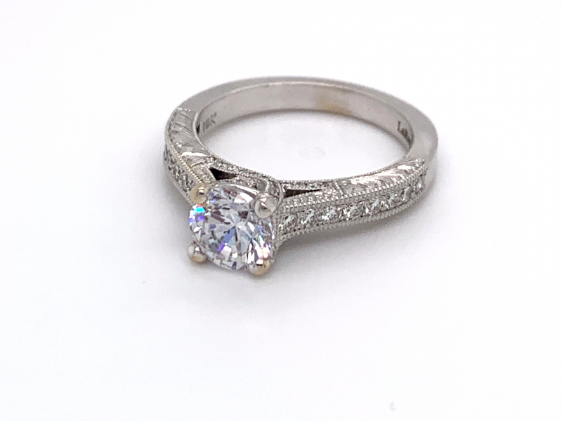 Bridal Jewelry - Hand Engraved Diamond Trellis Engagement Ring
