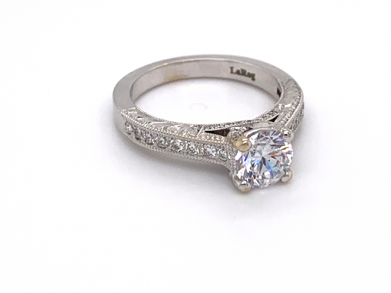Bridal Jewelry - Hand Engraved Diamond Trellis Engagement Ring - image #2