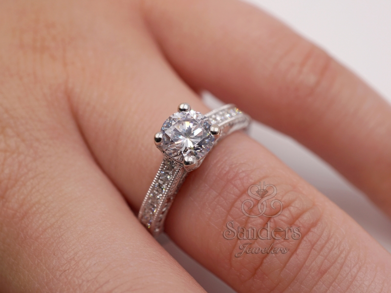 Bridal Jewelry - Hand Engraved Diamond Trellis Engagement Ring - image #3