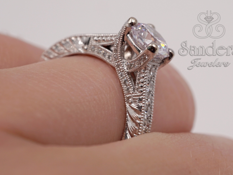 Bridal Jewelry - Hand Engraved Diamond Trellis Engagement Ring - image #4