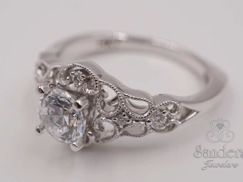 Bridal Jewelry - Filigree Lattice Diamond Engagement Ring - image #2