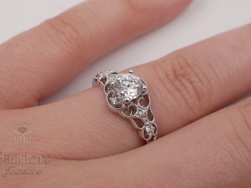 Bridal Jewelry - Filigree Lattice Diamond Engagement Ring - image #3