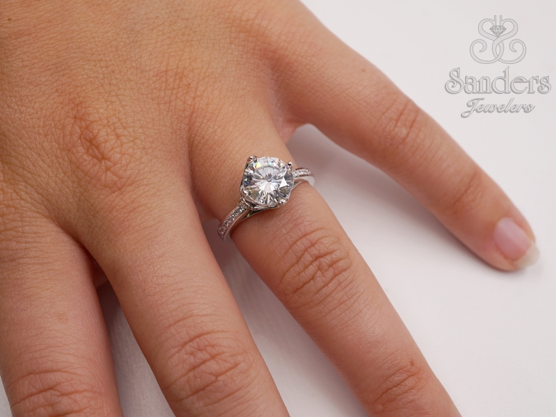 Bridal Jewelry - Crowned Diamond Engagement Ring - image #3