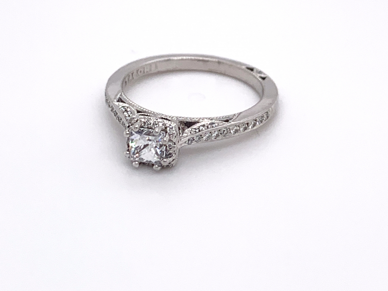Bridal Jewelry - Petite Diamond Halo Engagement Ring