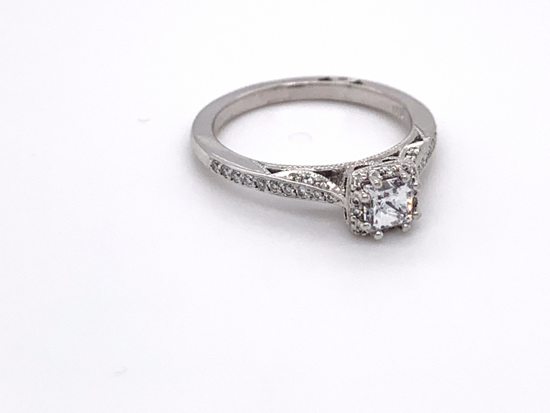 Bridal Jewelry - Petite Diamond Halo Engagement Ring - image #2